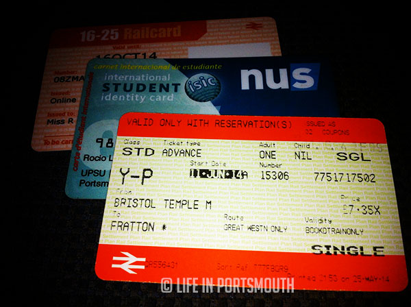16-25 Railcard, NUS Extra Card y billete de tren desde Bristol Temple Meads hasta Fratton con descuento.